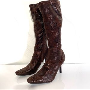 Blossom collection snake skin look heeled boots